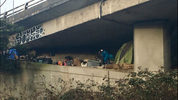 A person was spotted under the 50th Ave. overpass along I-5 in Seattle. (MyNorthwest)