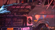 Two RVs burned at a homeless camp under the West Seattle Bridge early Thursday morning.