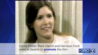 VIDEO: Carrie Fisher, Star Wars cast visits KIRO 7 in 1977