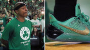 Boston Celtics' point guard Isaiah Thomas wore a message on his shoes for his sister Chyna, who was killed Saturday in a Federal Way car accident on Interstate 5. Thomas is a graduate of Curtis High in University Place. (AP Photo/Michael Dwyer)
