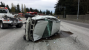 All lanes of I-5 were blocked at Northeast 145th Street Saturday morning. Power lines were down on the road and there was a rollover crash. Traffic was backed up for miles. The incident started about 8:30 a.m. (Washington State Patrol photo)