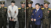 U.S. citizens Otto Warmbier, left, and Kim Dong Chul are escorted at court in Pyongyang, North Korea. North Korea has detained U.S. citizen, Tony Kim, bringing to three the number of Americans now being held there. (AP Photo/Files)