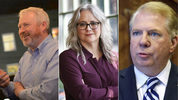 Photos from left to right: Former Seattle mayor and current mayoral candidate Mike McGinn, activist and mayoral candidate Cary Moon, and incumbent Mayor Ed Murray.