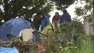 Crews cleanup homeless camp near I-90 before light rail work