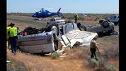 A RV hit an SUV on Interstate 90 at Moses Lake. Multiple agencies are on scene of the DUI investigation. The RV driver was flown to a hospital.(State Patrol photo)