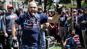 Joey Gibson speaks during a April 27, 2017 rally in support of free speech in Berkeley, Calif. Gibson has organized pro-Trump, free speech rallies along the West Coast, targeting more liberal areas. (AP Photo/Marcio Jose Sanchez, file)