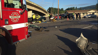 One airlifted from 4-car crash in Gorst | KIRO-TV