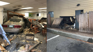 Car crashes into Federal Way building, injures one