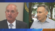 King County Sheriff John Urquhart (left) and King County Executive Dow Constantine (right).