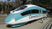 This Feb. 26, 2015, photo shows a full-scale mock-up of a high-speed train, displayed at the Capitol in Sacramento, Calif. (AP Photo/Rich Pedroncelli, File)