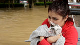 Jannett Martinez holds her cat Gigi as she rides a boat out of her neighborhood which was inundated after water was released from nearby Addicks Reservoir when it reached capacity due to Tropical Storm Harvey. ( Photo/Charlie Riedel)