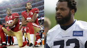 Left: Free agent and former 49ers quarterback Colin Kaepernick; Right: to Seahawks defensive end Michael Bennett (Images: AP)