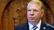 File: Seattle Mayor Ed Murray speaks during a news conference about his new proposal for a soda tax Thursday, April 27, 2017, in Seattle. (AP Photo/Elaine Thompson)