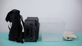 Find a storage container: this can be a backpack, suitcase, container, or even grocery bags.