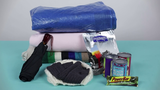 Look for camping supplies in your home like blankets, hats, gloves, canned and dried foods, rain gear, and tarps.