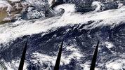 A composite image from NASA on Monday shows a solid swath of moisture stretching from coastal China to the coast of British Columbia. Part of this storm is going to hit Western Washington off and on for the entire week.