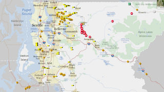 Interactive map for roadway conditions, flooded commute areas in King County
