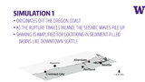 One animation shows a scenario that's bad for Seattle, where an earthquake begins off the southern Oregon coast and the fault line breaks north – with seismic waves building up along the way.