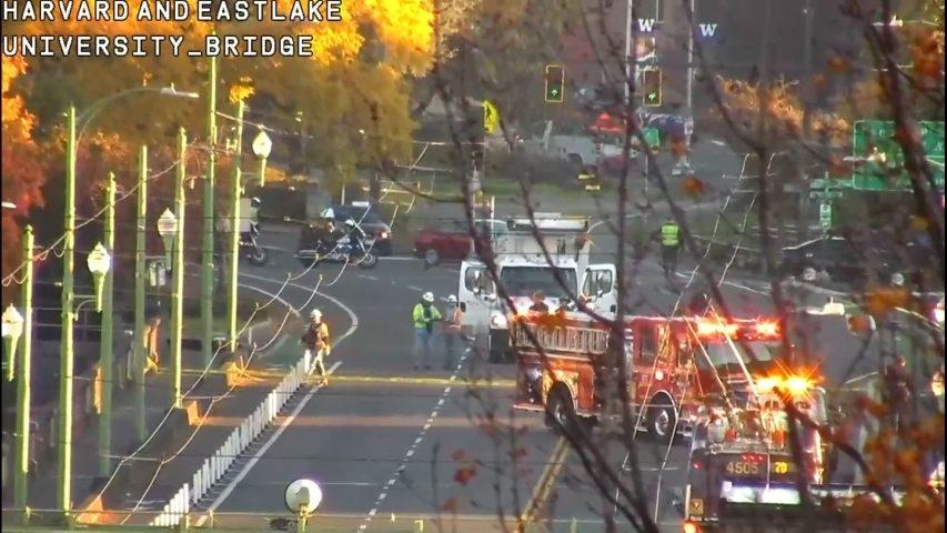Downed wires close lanes of Seattle's University Bridge