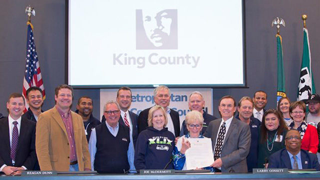 """Members of the group """"Save our Seahawks"""" join the members of the King  County Council after the council recognized the 20th anniversary of the  organization s ... bde058eaf"""