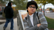 Chicago high school senior Hira Zeeshan poses for a portrait in the West Ridge neighborhood of Chicago. Zeeshan said she's been affected personally by the anti immigrant rhetoric that is on the rise. (AP Photo/Charles Rex Arbogast)