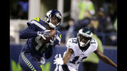 Seattle Seahawks' Byron Maxwell (41) intercepts the ball in the end zone that was intended for Philadelphia Eagles' Nelson Agholor (13) in the second half of an NFL football game, Sunday, Dec. 3, 2017, in Seattle. (AP Photo/John Froschauer)