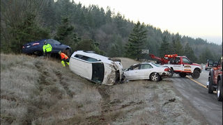 Icy conditions cause crashes on stretch of I-90