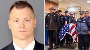 Deputy Daniel McCartney, who was killed Jan. 8, 2018, was the 34-year-old father of three boys. He also had years of service in the Navy, earning several honors. (Photo credits: Pierce County Sheriff's Office, left; Joshua Bessex/TNT via AP, right)