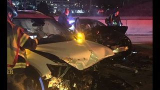 Several injured in wrong-way crash on NB I-405