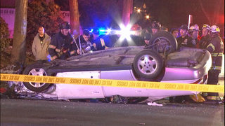 Car flips over in North Seattle while fleeing from police
