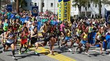 HOPKINTON, MA - APRIL 18: The Elite Men's division starts the 120th Boston Marathon on April 18, 2016 in Hopkinton, Massachusetts. (Photo by Tim Bradbury/Getty Images)