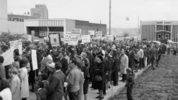 About 1,000 marchers paid tribute to the memory of slain civil rights leader Martin Luther King Jr. with a silent march that led to the steps of the County-City Building on April 7, 1968. King had been assassinated in Memphis three days before.