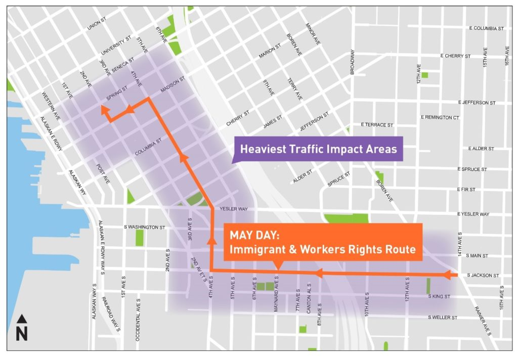 Seattle May Day 2018: What to know about traffic | KIRO-TV on seattle subway system route map, seattle demographics map, seattle to spokane map, seattle concourse map, seattle toll road map, seattle police map, seattle storm drain map, seattle airspace map, seattle climate map, seattle water supply map, seattle heat map, seattle mountain map, seattle airport location map, seattle highway map, seattle metro tunnel map, seattle walkability map, seattle express lanes map, seattle pride parade map, seattle street map with attractions,