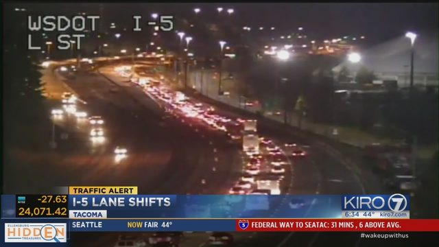 Delay in opening I-5 lanes for Tacoma traffic shift causes