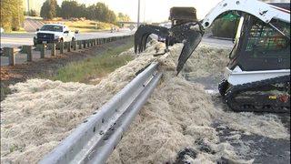 Semi crash dumps massive load of feathers, blocks I-5 in Federal Way