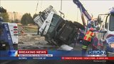 VIDEO: Semi-truck crashes on I-5 in Federal Way