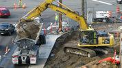Crews working on what will be the Northgate light rail station. (Chris Sullivan, KIRO Radio)