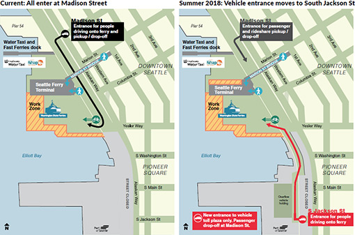 New entrance for drive-on ferry riders at Colman Dock   KIRO-TV on seattle construction map, seattle ferry parking map, victoria ferry route map, seattle ferry system map, seattle driving map, seattle restaurants map, seattle beaches map, sound transit light rail map, seattle bars map, seattle schools map, seattle ports map, seattle cruise map, seattle highways map, seattle aviation map, downtown seattle ferry map, seattle bike routes map, seattle car map, seattle docks map, seattle attractions map, seattle area ferry map,