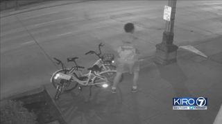 Bike-share bicycle vandal seen on camera in SoDo