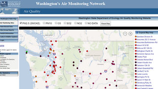 Map with real-time air quality conditions for Washington state cities