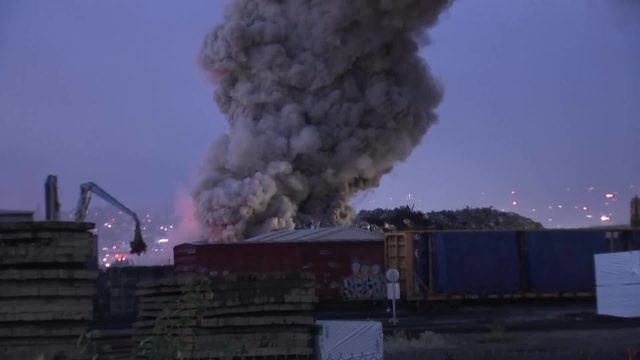 Fire At Tacoma Metal Scrap Yard Burns For Hours