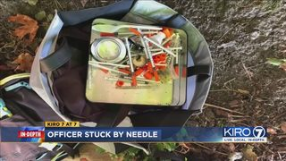 VIDEO: Veteran Seattle police officer poked by needle