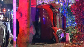 Driver runs from crash after flipping car near Northgate