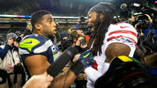 Seahawks linebacker Bobby Wagner and former teammate Richard Sherman of San Francisco playfully jaw at each other after Seattle's 43-16 victory. The Seahawks played the 49ers at CenturyLink Field Dec. 2, 2018. Photo: Drew Perine/The News Tribune