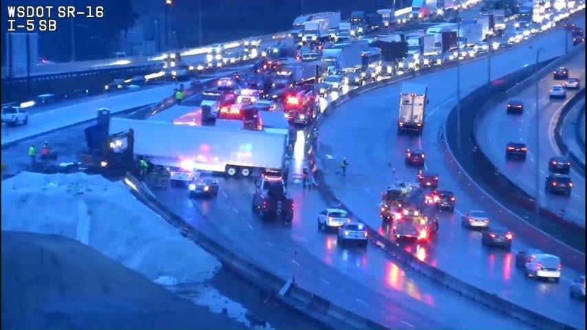Semitruck blocked all lanes of SB I-5 in Tacoma on Tuesday
