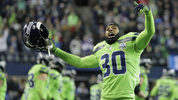 Seattle Seahawks strong safety Bradley McDougald celebrates after the Seahawks blocked a field goal attempt by the Minnesota Vikings during the second half of an NFL football game, Monday, Dec. 10, 2018, in Seattle. The Seahawks won 21-7. (AP Photo/Ted S. Warren)