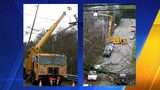 Left: Seattle City Light crew repairs broken power pole after storm of December 15, 2006. HistoryLink.org photo by David Wilma  Right: Seattle City Light repair crew restores power from downed lines after storm. Photo by David WIlma