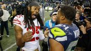 Cornerback Richard Sherman #25 of the San Francisco 49ers talks with middle linebacker Bobby Wagner #54 of the Seattle Seahawks following the game at CenturyLink Field. The Seahawks beat the 49ers 43-16. (Photo by Otto Greule Jr/Getty Images)