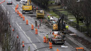 Construction workers tear up Martin Luther King Jr. Way in Tacoma's Hilltop Neighborhood for utility work prior to the coming light rail construction, December 28, 2018. (Peter Haley/The News Tribune)