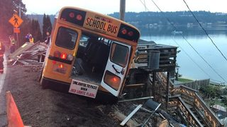 Students and driver safe after school bus drives off roadway in Pierce County